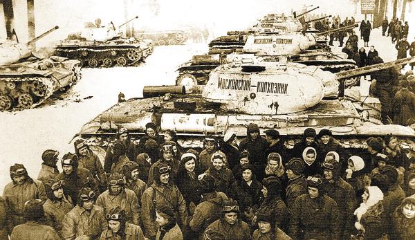Передача военным танковой колонны «Московский колхозник», накоторую собрали деньги ижители Семёновского. Декабрь 1942г.