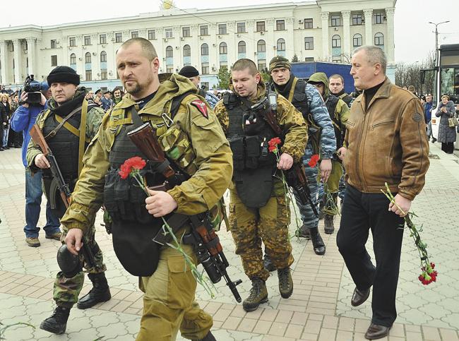 Представители «Беркута» прибыли проститься субитыми вКиеве военнослужащими изКрыма. Симферополь, 22 февраля 2014года