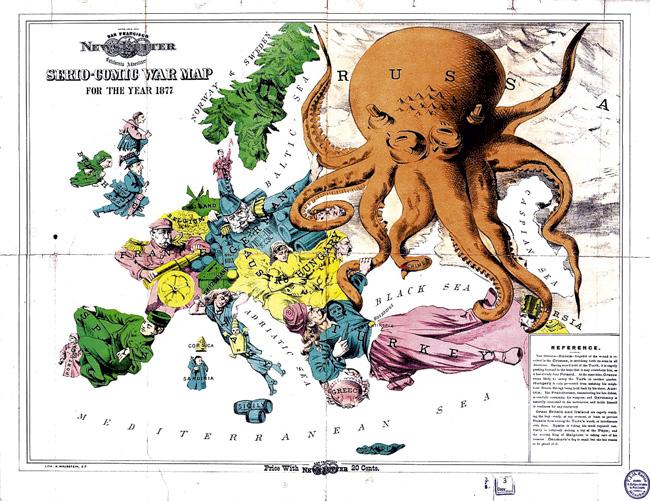 Английская пропагандистская карта Европы 1877года. Начало текста: «Осьминог — Россия — забыв ополученных вКрыму ранах, протягивает свои руки вовсех направлениях…»